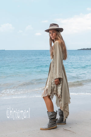 Asymmetric Huge Mantle Cardigan for Women / Raw Cotton Kimono Wrap / Sage Green - ChintamaniAlchemi