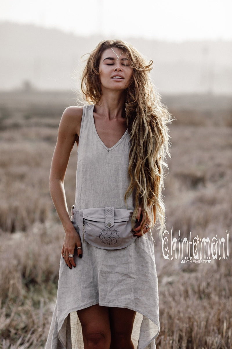 Asymmetric Long Natural Linen Dress / Boho Wedding Dress / Grey - ChintamaniAlchemi