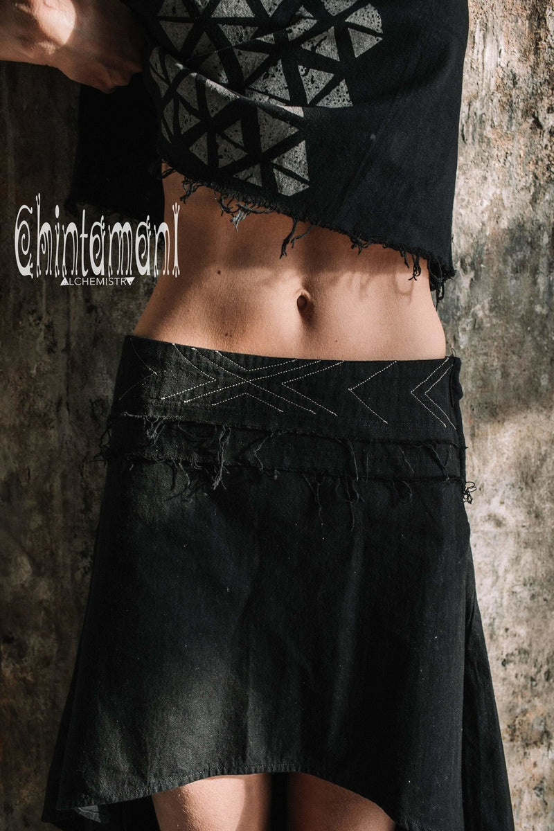 Asymmetric Raw Cotton Skirt with Navajo Pattern Stitches / Atua Tino / Black - ChintamaniAlchemi