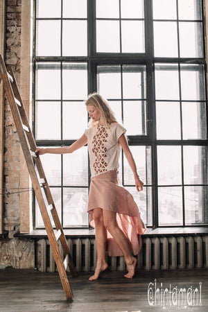 Asymmetric Raw Cotton Skirt with Navajo Pattern Stitches / Atua Tino / Dusty Pink - ChintamaniAlchemi
