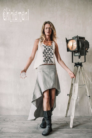 Asymmetric Raw Cotton Skirt with Navajo Pattern Stitches / Atua Tino / Grey - ChintamaniAlchemi