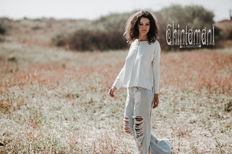 Asymmetrical Cotton Sweatshirt Frock Top with Long Sleeves & Tail / Off White - ChintamaniAlchemi