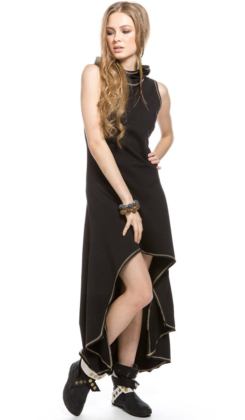 Asymmetrical Sleeveless Hooded Midi Dress / Black - ChintamaniAlchemi