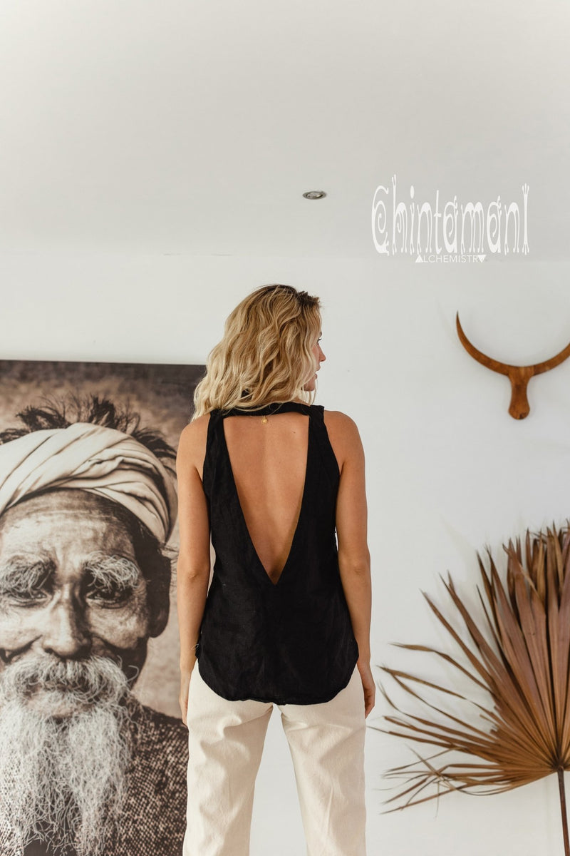 Backless Linen Boho Top with Fringes / Black - ChintamaniAlchemi