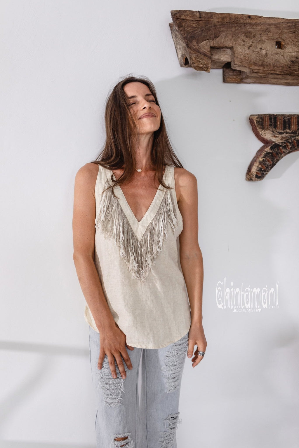 Backless Linen Boho Top with Fringes / Cream - ChintamaniAlchemi