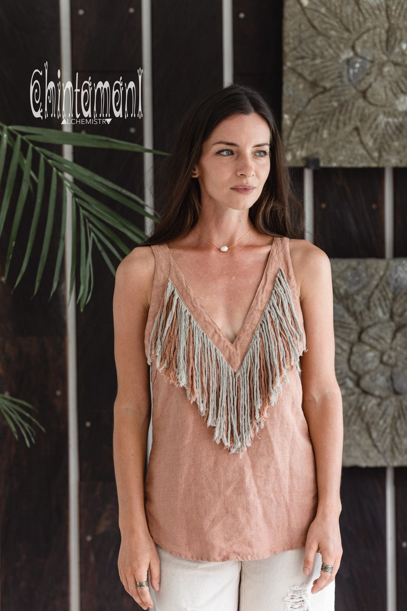 Backless Linen Boho Top with Fringes / Dusty Pink - ChintamaniAlchemi