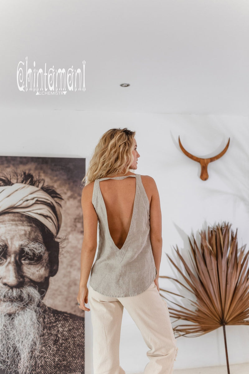 Backless Linen Boho Top with Fringes / Natural Gray - ChintamaniAlchemi
