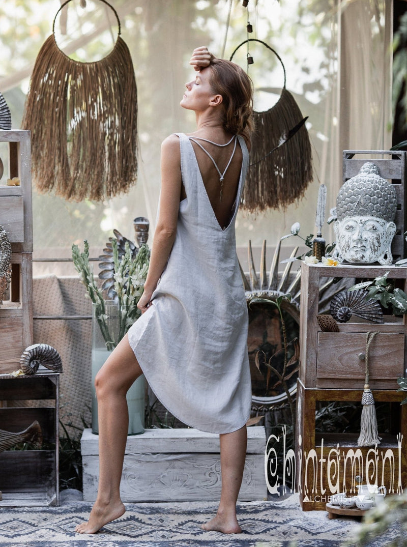 Backless Linen Tunic Dress for Women / Grey - ChintamaniAlchemi