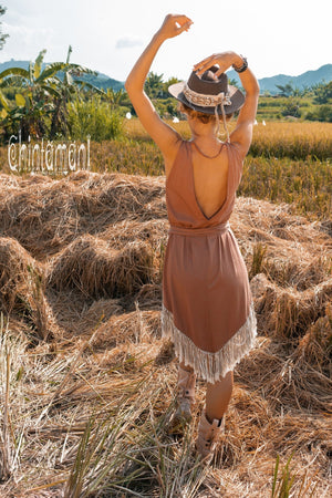 Bamboo Corner Fringe Dress for Women / Dusty Pink - ChintamaniAlchemi