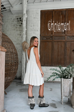 Bamboo Corner Fringe Dress for Women / Off White - ChintamaniAlchemi
