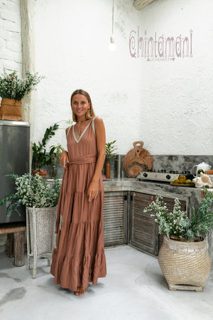 Bamboo Maxi Tiered Dress / Dusty Pink - ChintamaniAlchemi