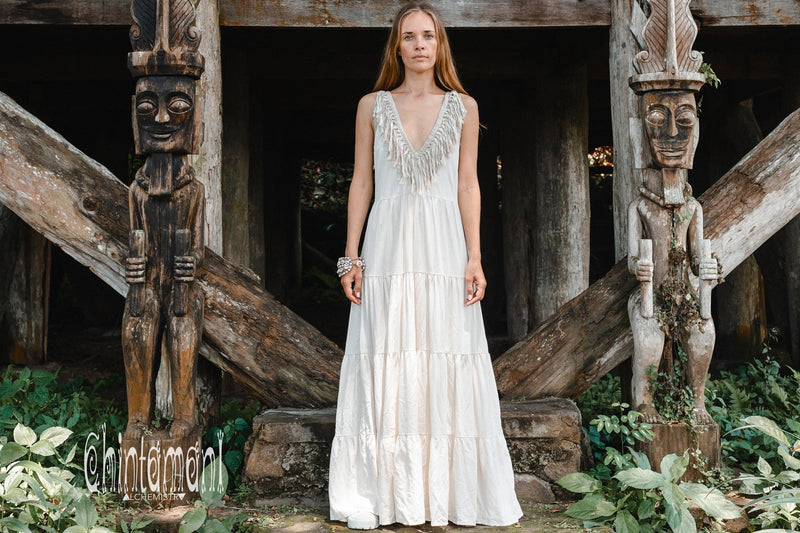Bamboo Maxi Tiered Dress with Fringes / Off White - ChintamaniAlchemi