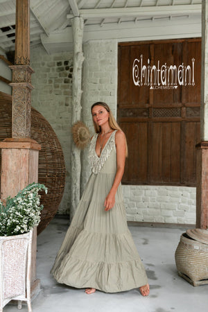 Bamboo Maxi Tiered Dress with Fringes / Sage Green - ChintamaniAlchemi