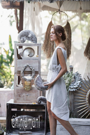 Basic Linen Tunic Dress for Women / Midi Tank Dress with Belt / Grey - ChintamaniAlchemi