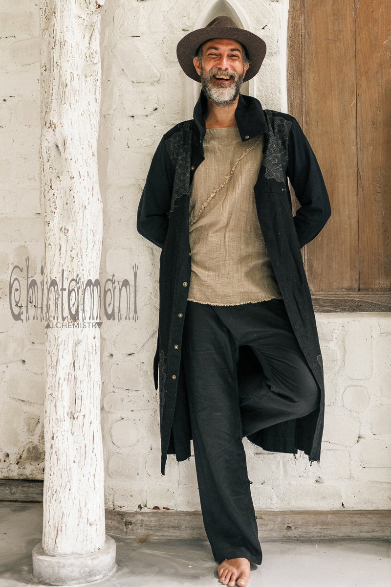 Black Cotton Canvas Mens Coat / Nomad Boho Cardigan Jacket with Shipibo Print - ChintamaniAlchemi