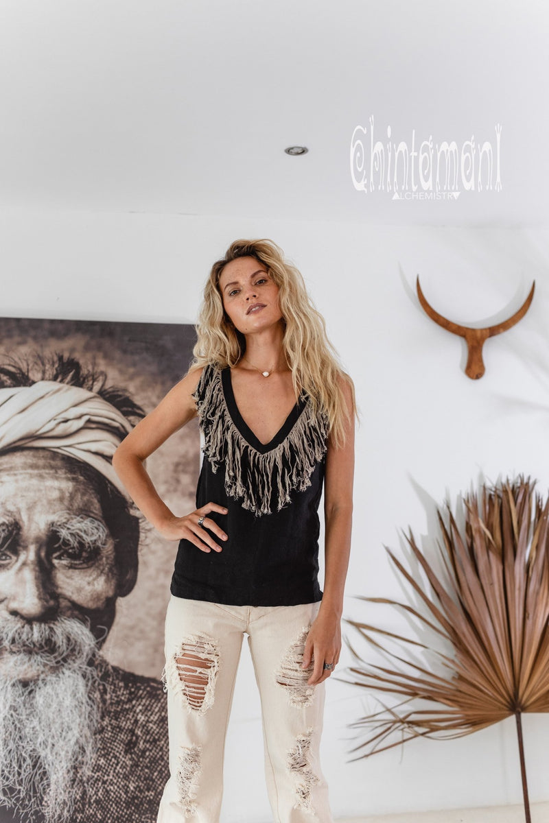 Boho Linen Tank Top with Fringes / Black - ChintamaniAlchemi
