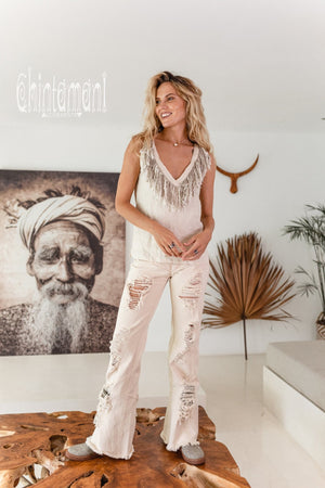 Boho Linen Tank Top with Fringes / Cream - ChintamaniAlchemi