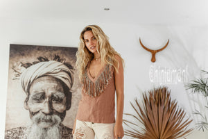 Boho Linen Tank Top with Fringes / Dusty Pink - ChintamaniAlchemi