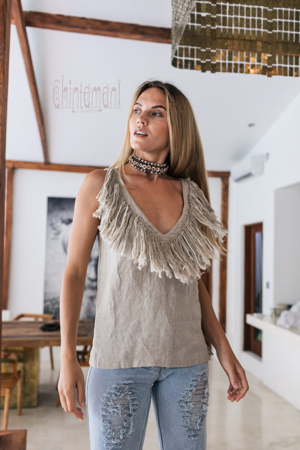 Boho Linen Tank Top with Fringes / Gray - ChintamaniAlchemi