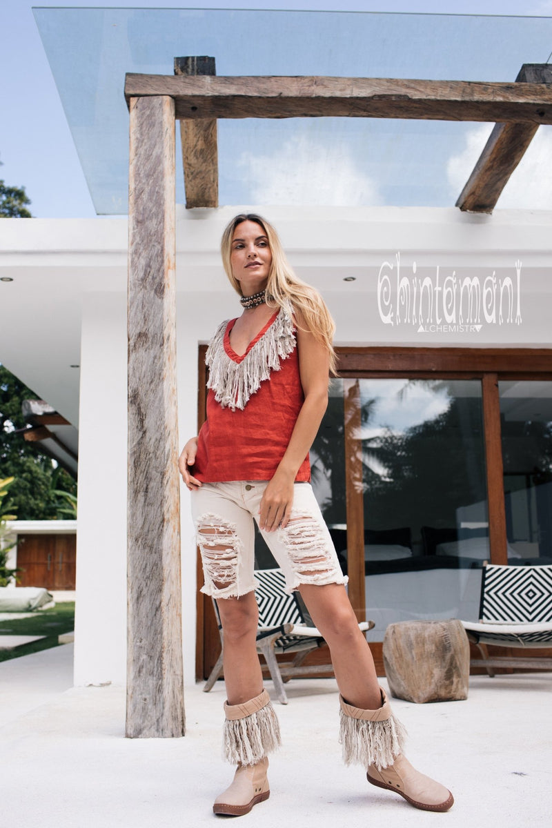 Boho Linen Tank Top with Fringes / Red Ochre - ChintamaniAlchemi