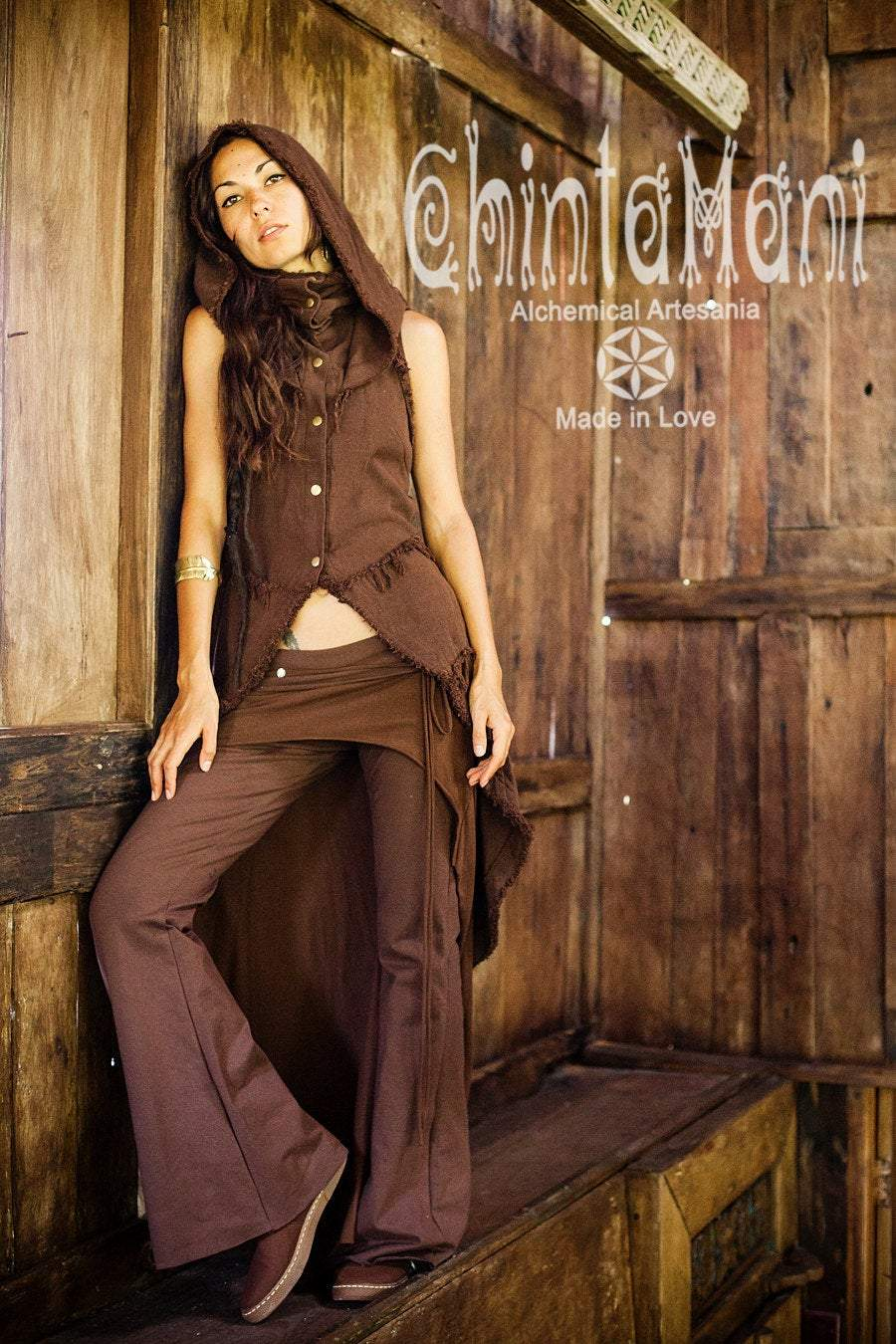 Boho Vest Jacket for Women / Frock Coat with Big Hood & Ouroboros Dragon Belt / Brown - ChintamaniAlchemi