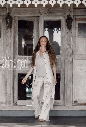 Boho Vest Jacket for Women / Frock Coat with Big Hood & Ouroboros Dragon Belt / Off White - ChintamaniAlchemi