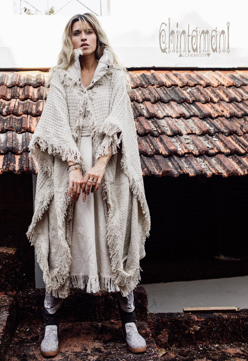 Burning Man Poncho Coat for Women / Freaky Kaftan Jacket with Wide Sleeves / Off White - ChintamaniAlchemi