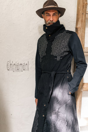 Cotton Canvas Mens Coat / Nomad Boho Cardigan Jacket with Shipibo Print / Black