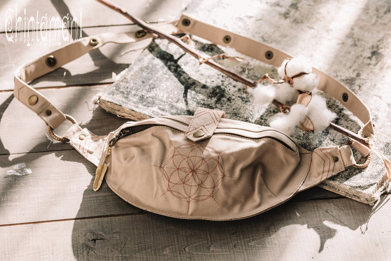 Cotton Canvas Banana Fanny Pack / Waist Bum Bag with Flower of Life Pattern / Beige - ChintamaniAlchemi