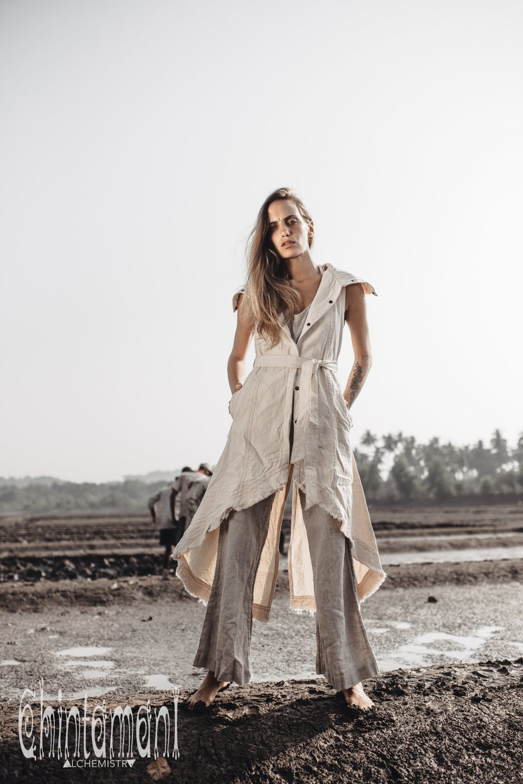 Cotton Canvas Boho Vest Jacket / Frock Coat for Women / Off White - ChintamaniAlchemi