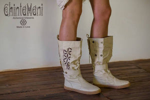 Cotton Canvas Vegan Boots / High Shoes with Flower of Life Print / Off White - ChintamaniAlchemi