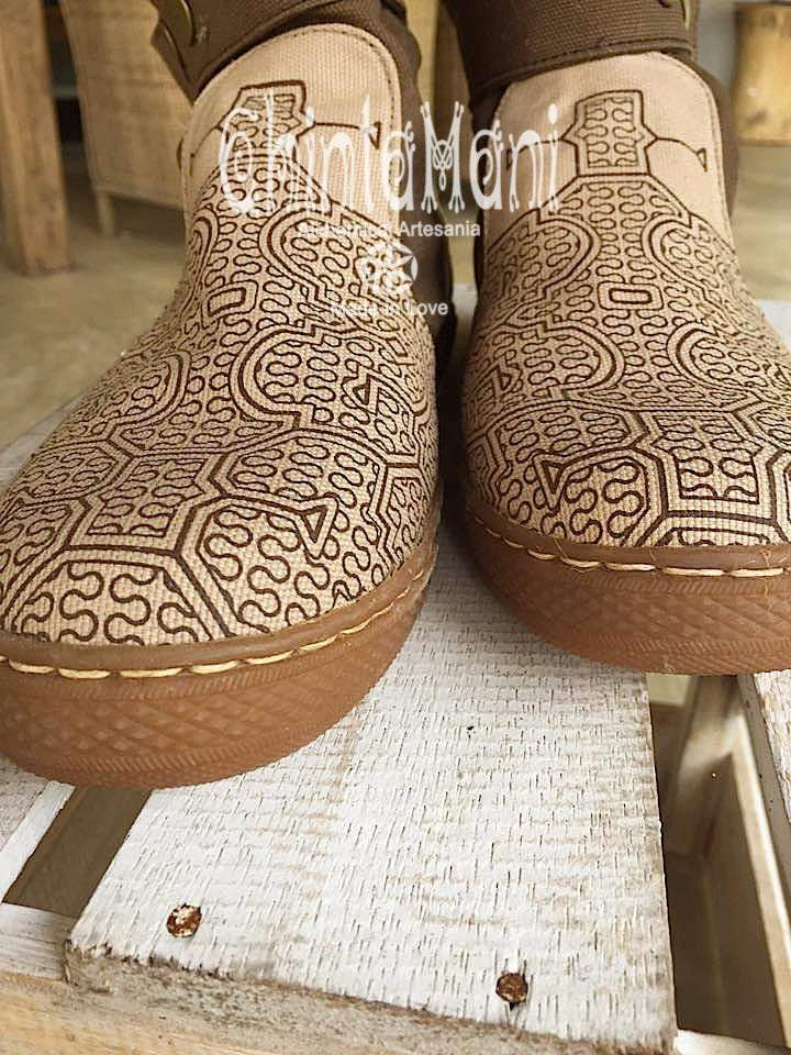 Cotton Canvas Vegan Boots / Shoes with Shipibo Print / Unisex Brown - ChintamaniAlchemi