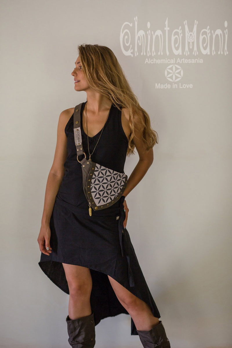 Cotton Canvas Vegan Pocket Belt Waist Bag / Flower of Life Print / Grey - ChintamaniAlchemi