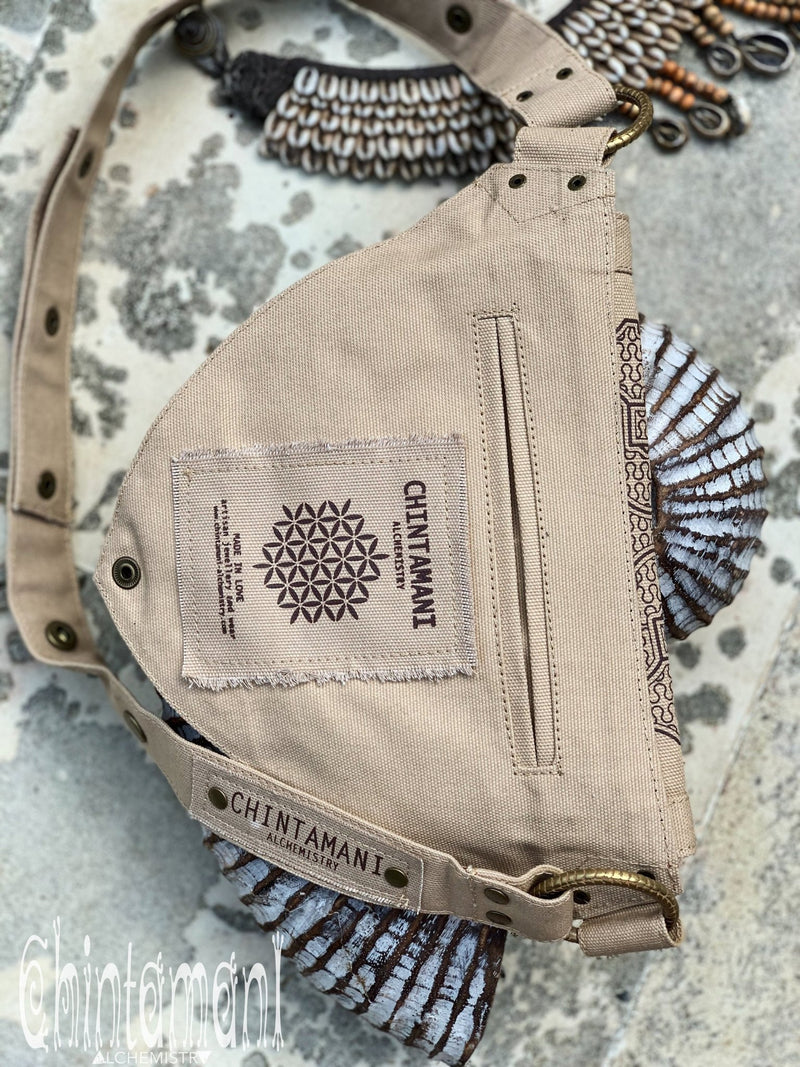 Cotton Canvas Vegan Pocket Belt Waist Bag / Shipibo Print / Beige - ChintamaniAlchemi