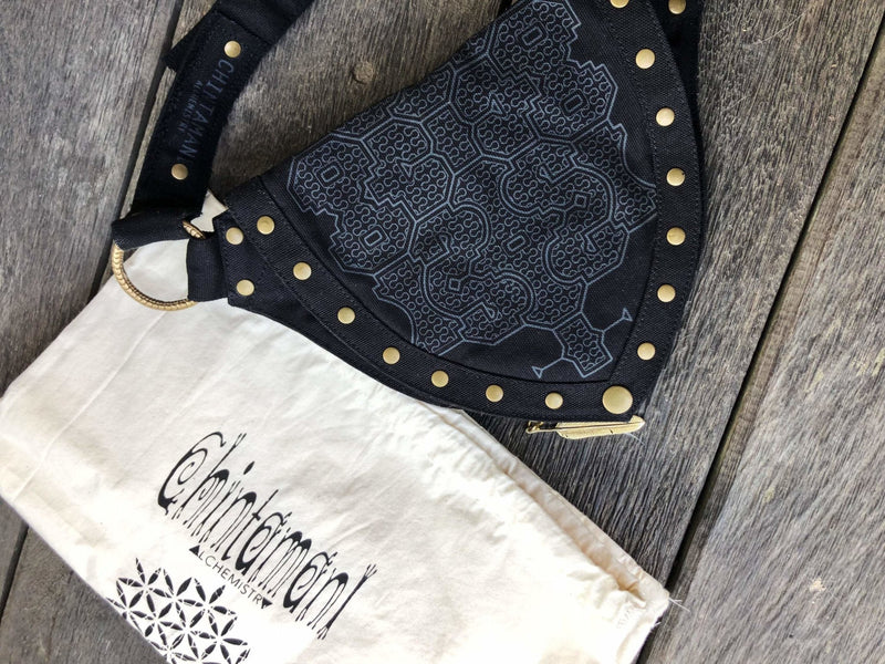 Cotton Canvas Vegan Pocket Belt Waist Bag / Shipibo Print / Black - ChintamaniAlchemi