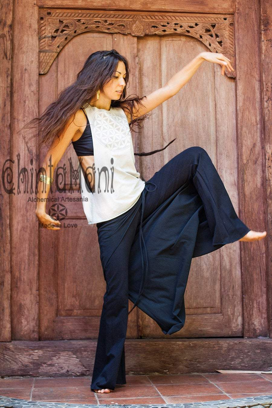 Cotton Flare Pants with Skirt for Women / Black - ChintamaniAlchemi