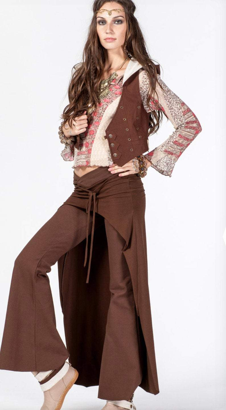 Cotton Flare Pants with Skirt for Women / Brown - ChintamaniAlchemi
