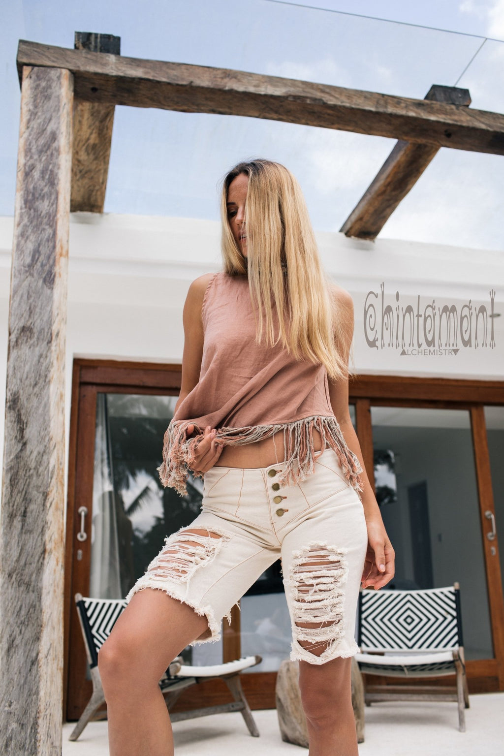 Denim Shorts for Women / Distressed Ripped Boho Jeans / Off White - ChintamaniAlchemi