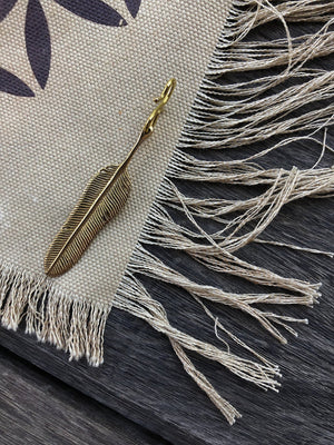 Extra Brass Feather Pendant by Chintamani - Eagle Feather Charm - ChintamaniAlchemi