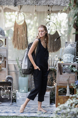 Fitted Linen Jumpsuit 3/4 / Women Midi Overalls with Pockets and Back Zip / Black - ChintamaniAlchemi
