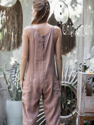 Fitted Linen Jumpsuit 3/4 / Women Midi Overalls with Pockets & Back Zip / Dusty Pink - ChintamaniAlchemi