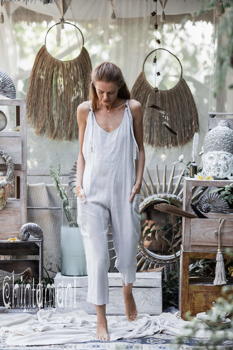 Fitted Linen Jumpsuit 3/4 / Women Midi Overalls with Pockets & Back Zip / Light Grey - ChintamaniAlchemi