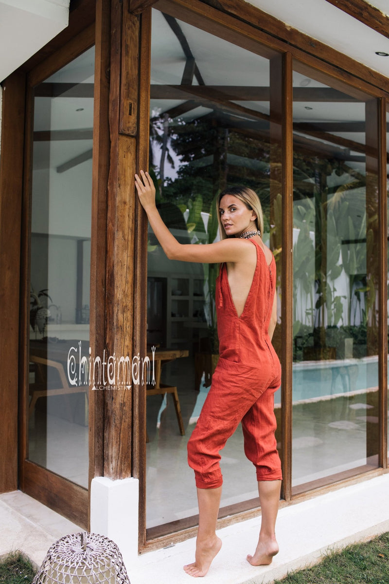 Fitted Linen Jumpsuit 3/4 / Women Midi Overalls with Pockets & Back Zip / Red Ochre - ChintamaniAlchemi