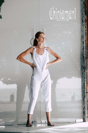 Fitted Linen Jumpsuit 3/4 / Women Midi Overalls with Pockets & Back Zip / White - ChintamaniAlchemi