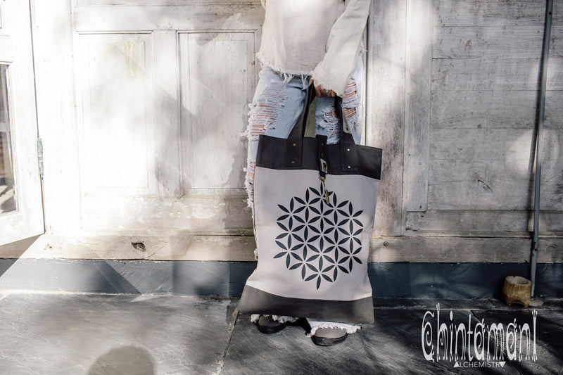 Flower Of Life Shopping Tote Bag / Reusable Market Canvas Hobo Bag - ChintamaniAlchemi