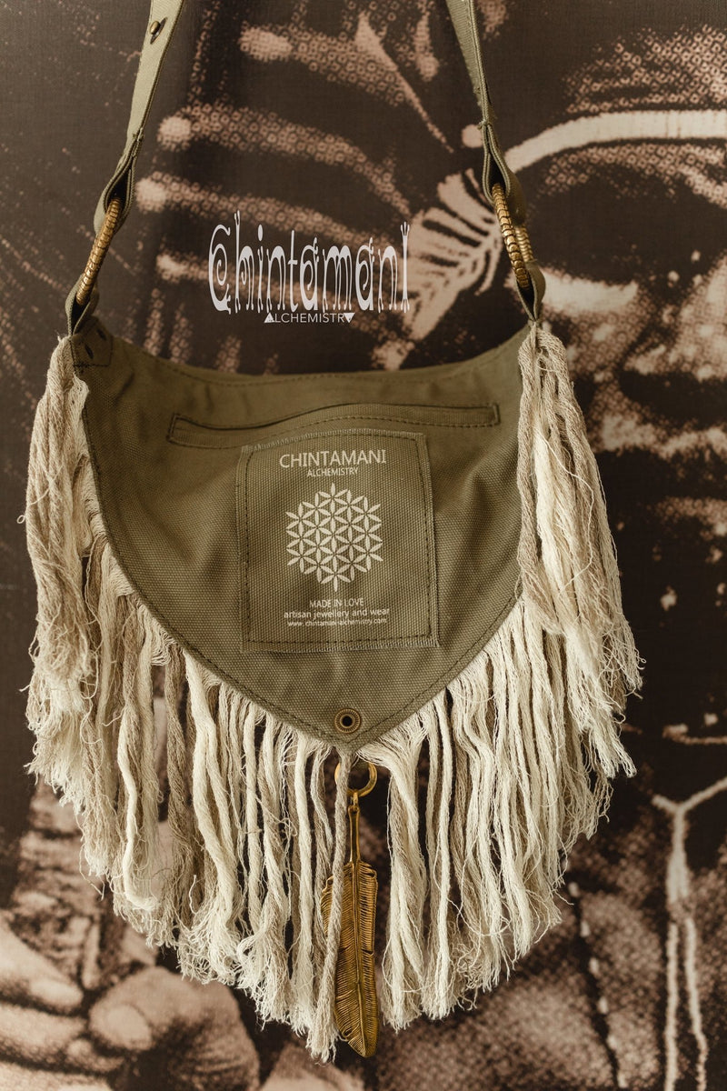 Fringe Cotton Canvas Vegan Waist Bag / Pocket Belt / Army Green - ChintamaniAlchemi