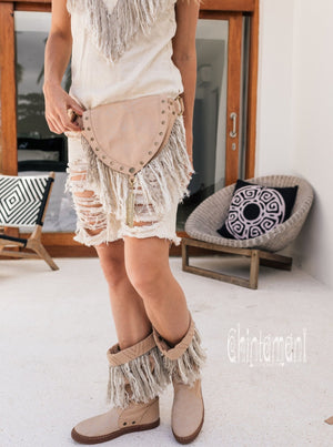 Fringe Cotton Canvas Vegan Waist Bag / Pocket Belt / Beige - ChintamaniAlchemi