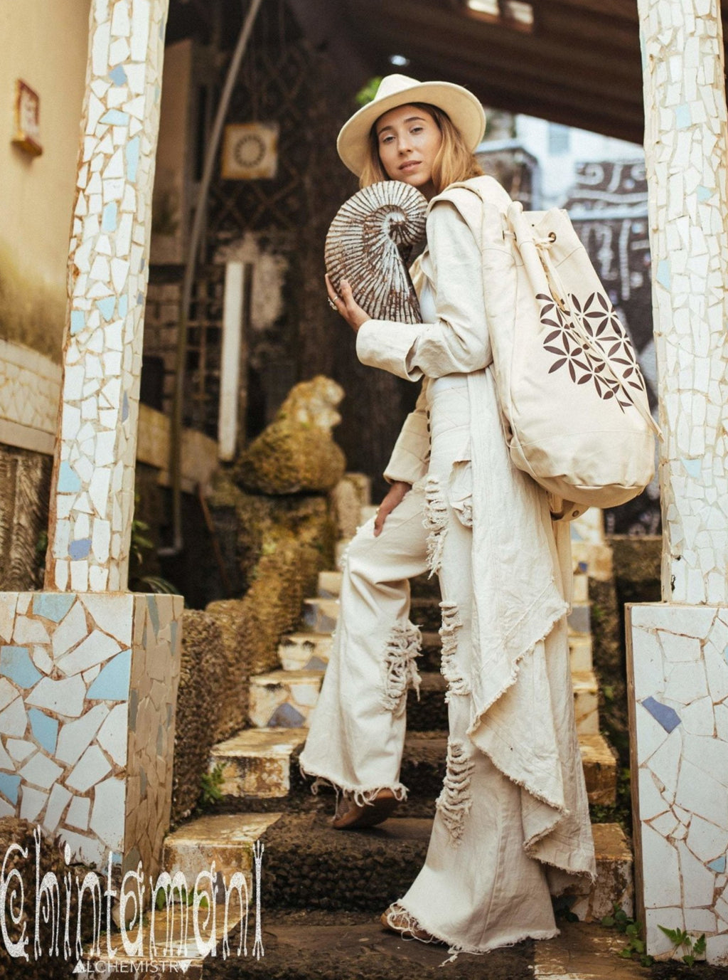 Giant Cotton Canvas Torba Backpack with Flower of Life Print / Beige - ChintamaniAlchemi