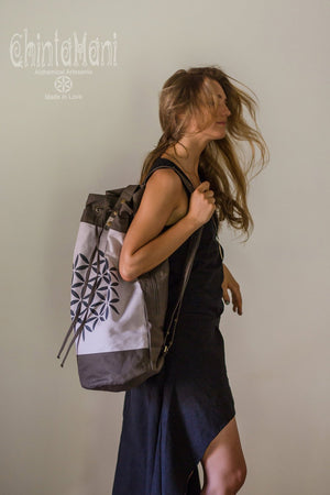 Giant Cotton Canvas Torba Backpack with Flower of Life Print / Grey - ChintamaniAlchemi