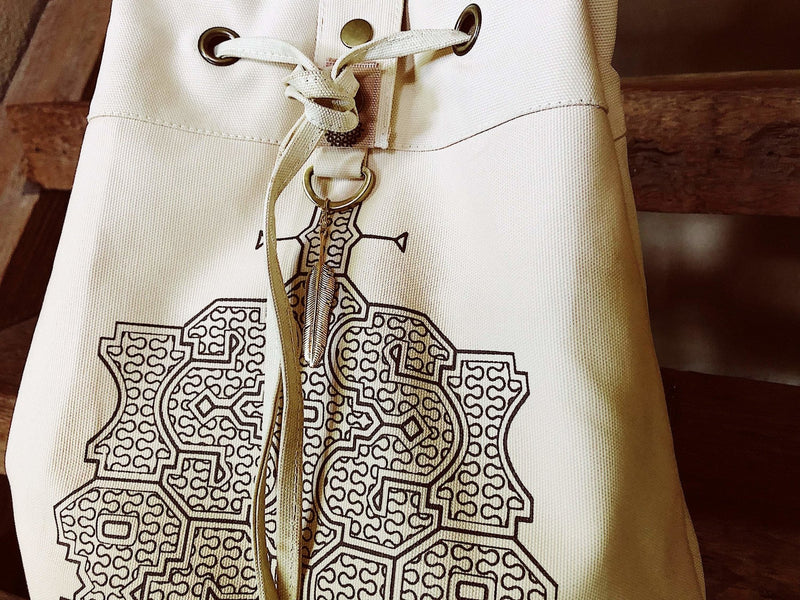 Giant Cotton Canvas Torba Backpack with Shipibo Print / Off White - ChintamaniAlchemi